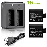 Monba rechargeable 1050mAH battery (2PCS) And Dual Battery USB Charger for Monba ME10 4K action Camera