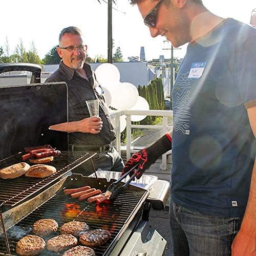 MIAO. Four Gants avec Les Doigts - Gants de Barbecue en Silicone Anti-dérapant du Four Gants résistant à la Chaleur pour la Cuisson Barbecue de Cuisson, (1 Paire)