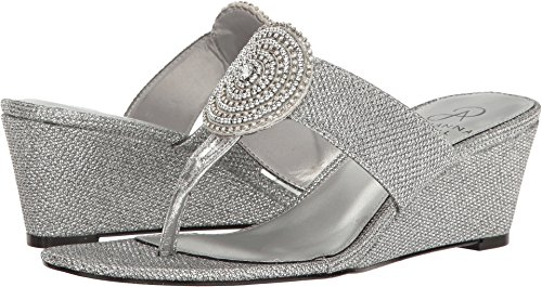 Adrianna Papell Women's Casey Wedge Sandal, Antique Silver, 8.5 M US