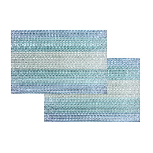 Placemats Washable Easy to Clean Pvc Placemat for Kitchen Table Heat-resistand Woven Vinyl Hard Table Mats 12x18 inches Set of 6 (Blue) by Bright Dream (Image #2)
