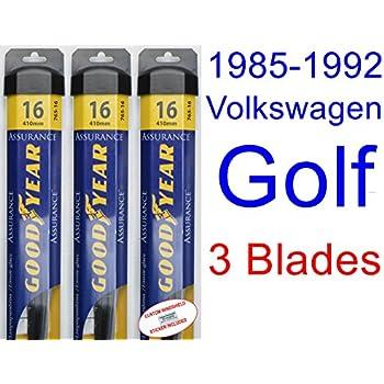 1985-1992 Volkswagen Golf Replacement Wiper Blade Set/Kit (Set of 3 Blades) (Goodyear Wiper Blades-Assurance) (1986,1987,1988,1989,1990,1991)