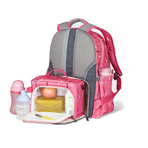 Sunveno 2pcs gran capacidad momia mochila bebé pañal pañal bolsa cambiante bolsa de viaje de maternidad multifuncional con bolsa aislada (rojo)