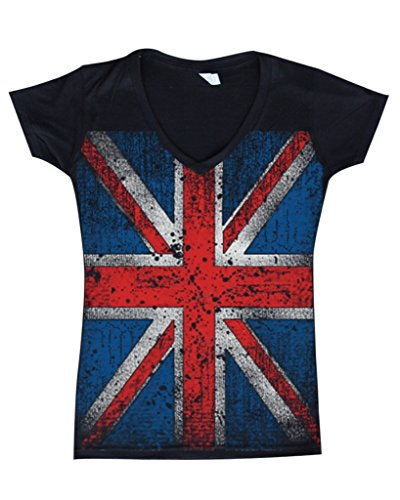 Union Jack Vintage British Flag Women V-Neck United Kingdom Flag Shirts 13315 Medium Black