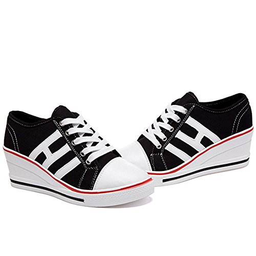 Noir Baskets Sneakers Casuel Compensé Sport Chaussures Femme Tennis Toile Compensées Talon Mode De q78qw61xr
