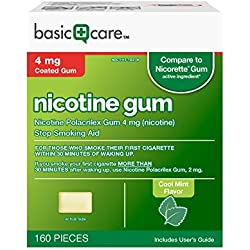 Basic Care Nicotine Gum 4 Stop Smoking Aid, Cool Mint, 160 Count