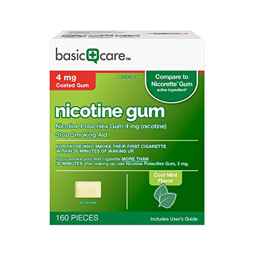 4mg Fresh Nicorette Mint - Basic Care Nicotine Gum 4 mg Stop Smoking Aid, Cool Mint, 160 Count
