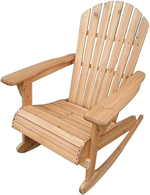 Volowoo Adirondack Bowland - Silla Mecedora reclinable para Exteriores, Muebles de jardín, Patio Natural: Amazon.es: Jardín