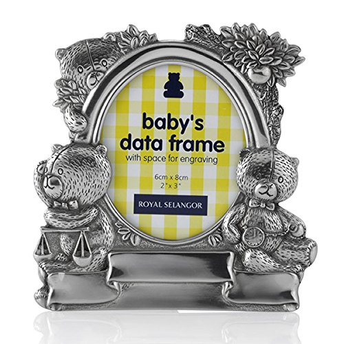 (Royal Selangor Hand Finished Teddy Bear's Picnic Collection Pewter Baby Data Photo Frame)