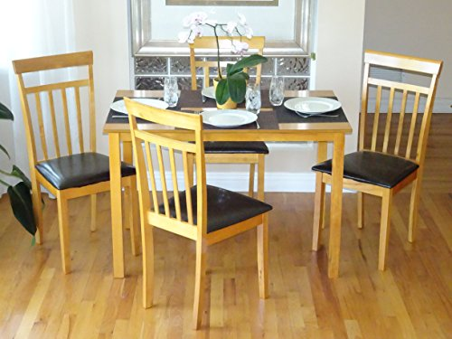 Dining Kitchen Set of 5 pc Dining Table And 4 Side Warm Chairs Solid Wooden Maple Finish - Maple Finish Dining Table
