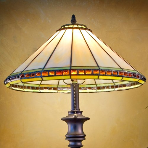 J Devlin Lam 644 Ivory Amber Stone & Seagrass Stained Glass Table Lamp