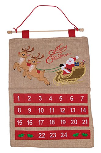 Christmas 24 Day Hanging Burlap Advent Calendar | Colorful Santa's Sleigh and Reindeer Christmas Design | Traditional Holiday Christmas Decor Theme | Perfect for Home or Office | Measures 21.75'' Tall by Clever Creations