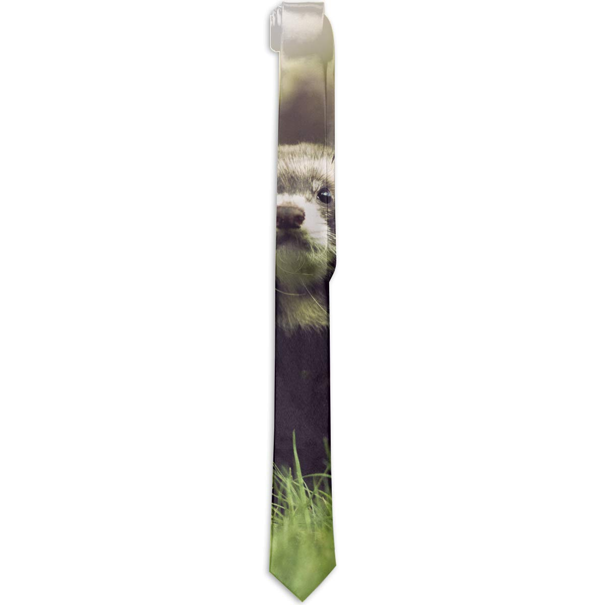 CZSJ Lovely And Cute Baby Ferrets Or Weasel In Summer Garden Mens Fashion Tie Luxury Print Necktie