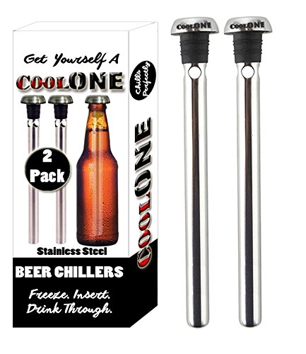 Cool One Beer Chiller - Beverage Cooling Sticks - Keep Your Beers Cold Longer With Beer Coolers! Unique Father's Day & Christmas Gifts For Dad! (Gift Set Of 2 Coolers) (Fathers Day Beer Gifts)
