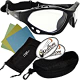 SeaSpecs Classic Crystal Specs Clear Lens Black Frame Sports Floating Sunglasses w Semi Rigid Case Bundle (5 Items) + Flex Clip Case + Soft Pouch + Lens Cloth + WindBone Kitesurfing Lifestyle Stickers