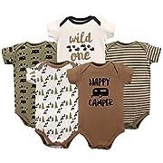 Luvable Friends Baby Infant Basic Bodysuit, 5 Pack, Happy Camper, 9M(6-9 Months)