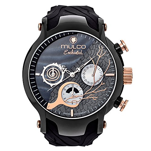 Mulco MW5-3812-025 Enchanted Woods Collection Black Silicone Band