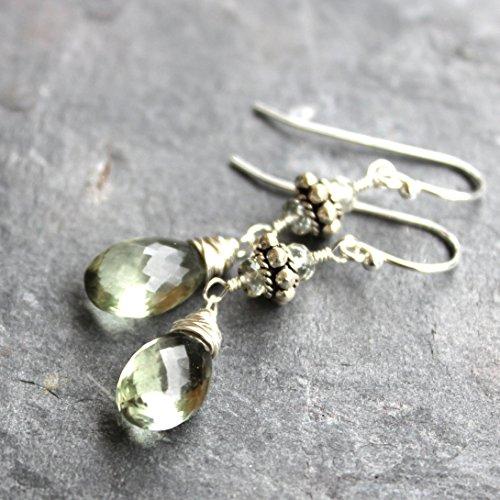 Green Amethyst Earrings Sterling Silver Beaded Dangle Mint Green Briolettes Prasiolite 1.5 ()