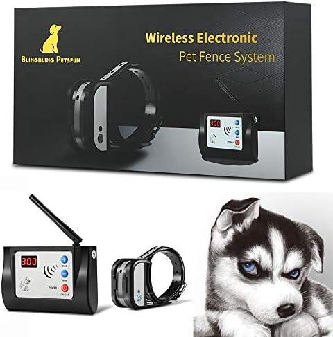 Blingbling Petsfun Electric Wireless Dog Fence System for Dogs, Pet Containment System for Dog with Waterproof and Rechargeable Training Collar Receiver Dog Pets Boundary Container