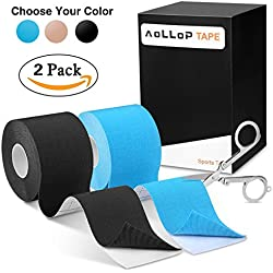 Aollop Kinesiology Tape with Free Folding Scissor- 16ft Uncut Roll- Best Pain Relief Elastic Therapeutic Sports Joint Tape for Muscles, Plantar Fasciitis, Knee Shoulder,Water Resistant,Latex Free
