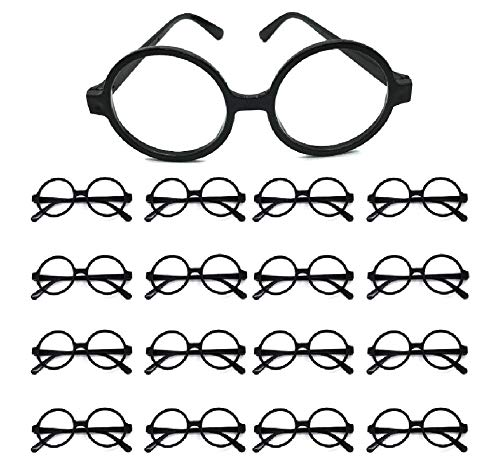 Easy Party 16 Piece Plastic Round Wizard Glasses for Party Favors, Party Supplies, Cosplay, Costume Accessories and More!