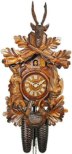 German Cuckoo Clock 8-day-movement Carved-Style 16.00 inch – Authentic black forest cuckoo clock by August Schwer