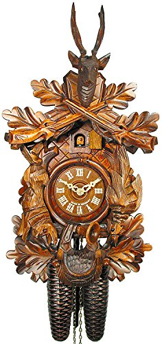 German Cuckoo Clock 8-day-movement Carved-Style 16.00 inch - Authentic black forest cuckoo clock by August ()