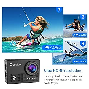 Crosstour Action Camera 4K WiFi Underwater Cam 16MP Sports Camera with Remote Control 170°Wide-Angle 2 Inch LCD Plus 2 Rechargeable 1050mAh Batteries and Mounting Accessories Kit