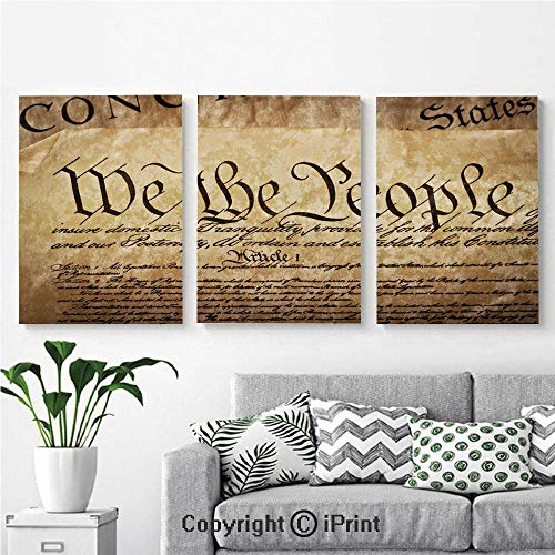 Canvas Prints Modern Art Framed Wall Mural Vintage Constitution Text of America National Glory Fourth of July Image for Home Decor 3 Panels,Wall Decorations for Living Room Bedroom Dining Room Bathr