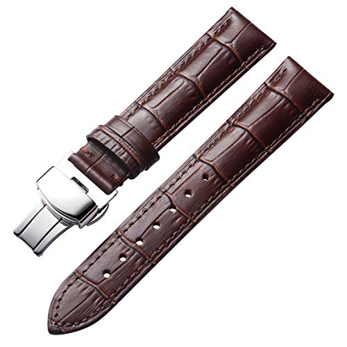 Genuine Calfskin Replacement Leather Watch Bands Strap for Men Women with Butterfly Buckle (12mm 14mm 16mm 17mm 18mm 19mm 20mm 21mm 22mm 23mm 24mm) Multi Colors for Choice