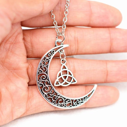 Ransopakul Celtic Triquetra Trinity Knot Pendant Silver Plated Long Chain Moon Necklace