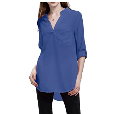 Camisa de Seguridad con Cuello en V para Mujer, Manga Enrollable, Blusa Informal de Gasa para Verano Azul Azul S: Ropa y accesorios