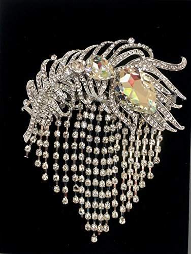 Amazon Com Rhinestone Feather Brooch Wedding Art Deco Brooch Crystal Silver Brooch Handmade