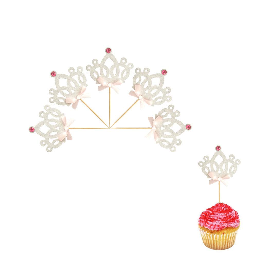 We Moment Silver Glitter Crown Cupcake Toppers,for Baby Shower Party Girls Birthday Table Decoration Graduation Marriage Engagement Anniversary Birthday Valentines Party Cake Decorations 50 pcs