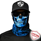 SA Company Face Mask Shield Protective Balaclava Bandana Microfiber Tube Neck Warmer (Blue Crow Skull)