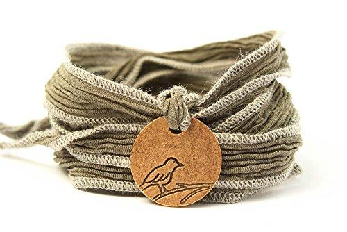 Ribbon Medallion (Sparrow Medallion Wrap Bracelet - Ribbon Color: TAUPE 171)