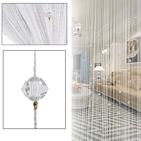 Eve Split Decorative Door String Curtain Beads Wall Panel Fringe Window Divider Blind for Wedding Coffee House Restaurant Parts Crystal Tassel Screen Home Decoration(white) (Bead Door)