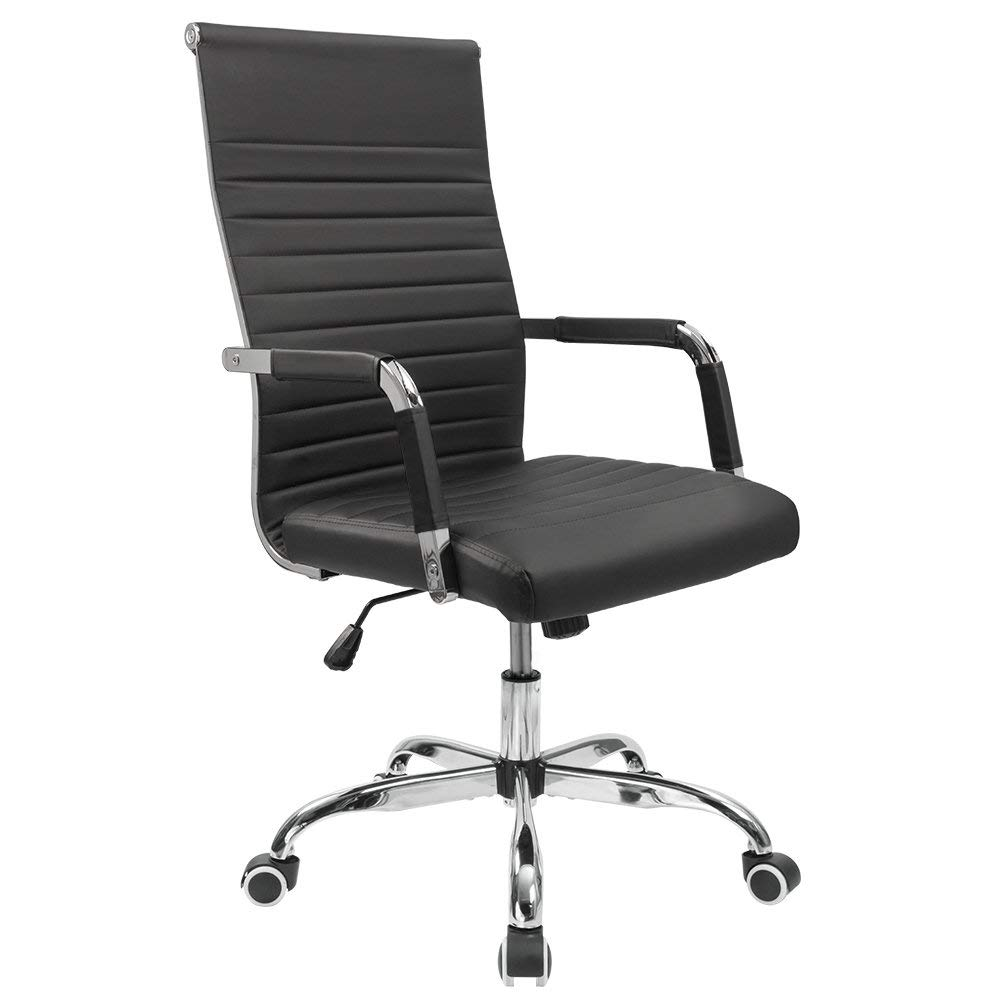 Furmax Ribbed Office Desk Chair Mid-Back Leather Executive Conference Task Chair Adjustable Swivel Chair with Arms (Black) by XISXI