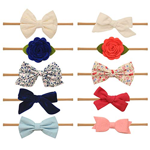 Baby Girl Headbands and bows - Nylon Headband Fits newborn toddler infant girls (Charlotte Collection) ()