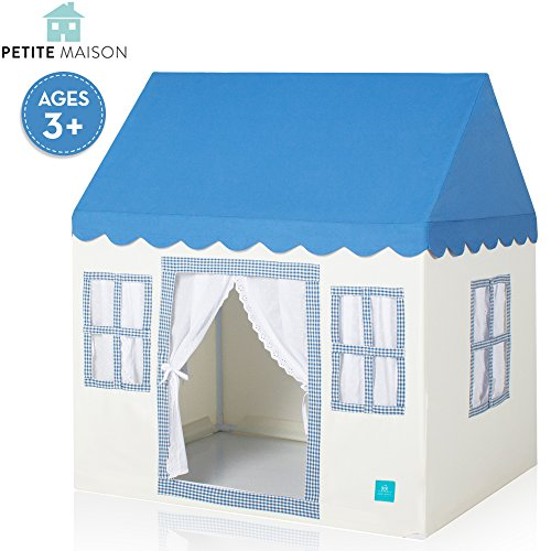 (Petite Maison Kids Play House Tent, Hand Made Premium Quality Playhouse for Indoor & Outdoor, Light, Easy Assembly - Blue)