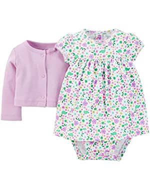 Just One You Baby Girls' Floral 2-Piece Dress Set - Purple
