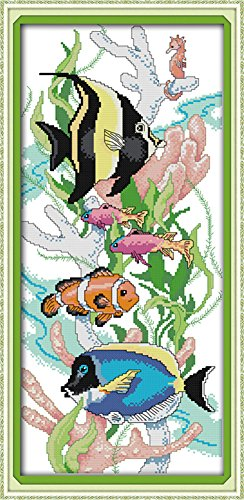CaptainCrafts Hots Cross Stitch Kits Patterns Embroidery Kit - Tropical Fish (STAMPED) Tropical Fish Embroidery