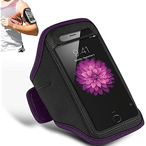 SAMSUNG GALAXY S7 EDGE - Adjustable Armband Gym Running Jogging Sports Case Cover Holder + Polishing Cloth ( Dark Purple ) Sales