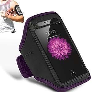 LG G5 - Adjustable Armband Gym Running Jogging Sports Case Cover Holder + Polishing Cloth ( Dark Purple )