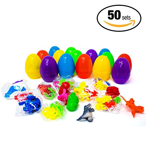 Price comparison product image 50 Pack! - Easter Large 2.7 Inches Eggs, Bright & Colorful, Filled with 50 Different Prize Toys - Unique Surprise Egg Stuffers, Fantastic Easter Present / ideal for Egg Hunt Gifts & Basket Supplies