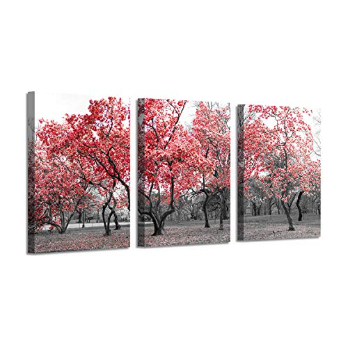 - Red Flower Trees Wall Art: Spring Bloom Picture Painting Print on Wrapped Canvas for Living Room (16'' x 12'' x 3 Panel)