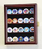 XS Casino Chip Coin Display Case Cabinet Holder Rack Box Holds up to 20 Coins, 98% UV Lockable, Cherry