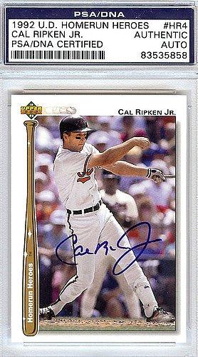 Cal Ripken Jr. Signed 1992 Upper Deck Homerun Heroes Trad...