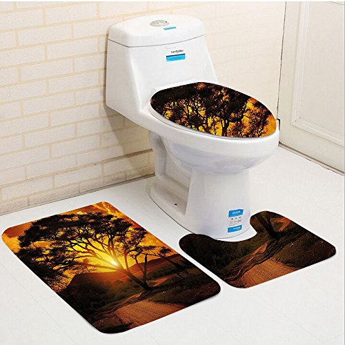 Keshia Dwete three-piece toilet seat pad customSunset Majestic African Tree with Horizon Background Mystic Nature Dramatic Landscape Orange Black