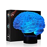 Brain 3D Illusion Halloween Decorations Lamp Night Light, Gawell 7 Color Changing Touch Switch Table Desk Lamps Birthday Present with Acrylic Flat & ABS Base & USB Cable Toy for Brain Fans Lover