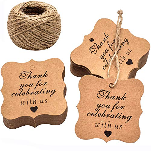 (Paper Gift Tags Thank You for Celebrating with Us, Whaline 100 Pcs Paper Hang Tag for Wedding Party Favors, Baby Shower with 100 Feet Natural Jute Twine (Heart Brown))